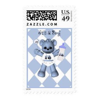 Baby Blue Bear and Blue Tractor Postage