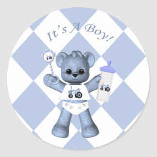 Baby Blue Bear and Blue Tractor Stickers