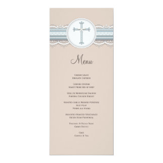 Baby Blue | Beige Cross Religious Celebration Menu Card