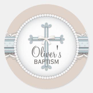 Baby Blue | Beige Religious Celebration Cross Classic Round Sticker