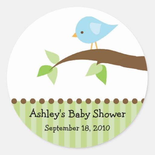 Baby Blue Bird Baby Shower Sticker