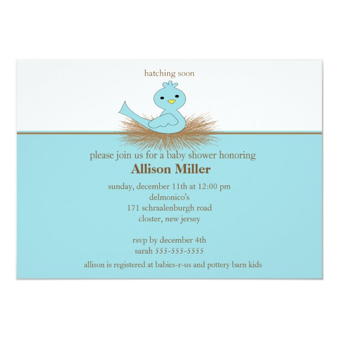 Baby Blue Bird Nest Boy Baby Shower Invitation