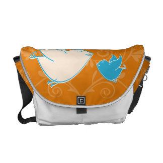 Baby Blue Bird Orange Mod Rickshaw Messenger Bag