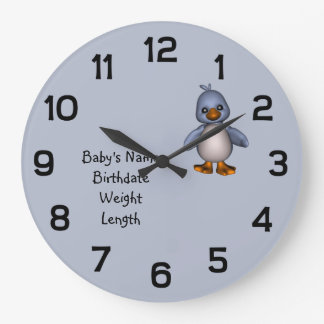Baby Blue Bird with Baby's Name Personalized Large Clock