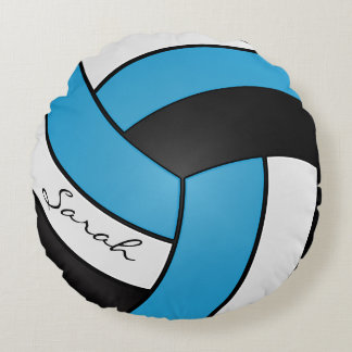 Baby Blue, Black and White Volleyball | DIY Name Round Pillow