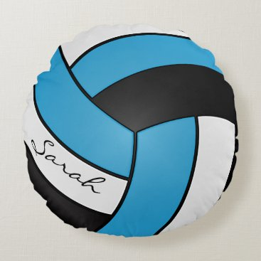 Toddler & Baby themed Baby Blue, Black and White Volleyball | DIY Name Round Pillow