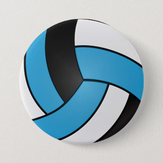 Baby Blue, Black and White Volleyball Pinback Button