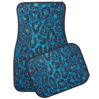 Baby Blue Black Cheetah Dots Car Floor Mat