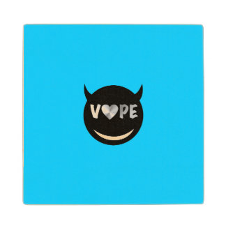 Baby Blue Black Vape Heart Rebel Wood Coaster