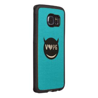 Baby Blue Black Vape Heart Rebel Wood Phone Case