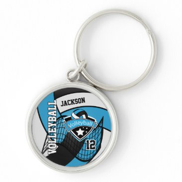 USA Themed Baby Blue, Black & White Volleyball Design Keychain