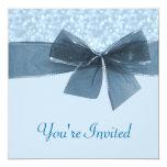 "Baby Blue Bokeh Dots Wedding 5.25"" Square Invitation Card"
