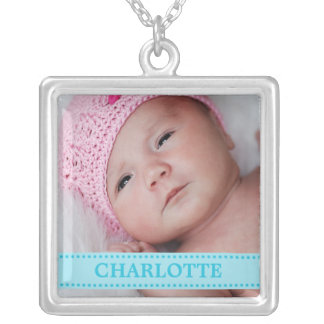 Baby Blue Boutique Personalized Baby Photo Square Pendant Necklace