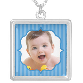 Baby Blue Boutique Striped Baby Photo Square Pendant Necklace