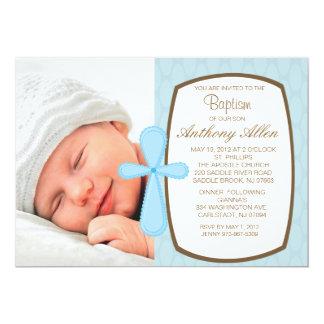 "Baby Blue Boys Photo Baptism Invitation 5"" X 7"" Invitation Card"