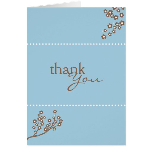 Baby Blue Branch Design Thank You Card