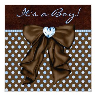 Baby Blue Brown Baby Boy Shower Card
