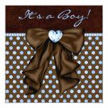 Baby Blue Brown Baby Boy Shower Custom Announcement