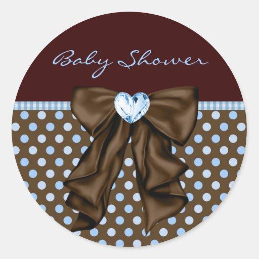 Baby Blue Brown Baby Boy Shower Round Stickers