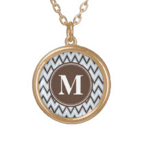 Baby Blue Brown Chevron with Monogram Gold Finish Necklace
