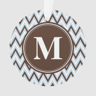 Baby Blue Brown Chevron with Monogram Ornament