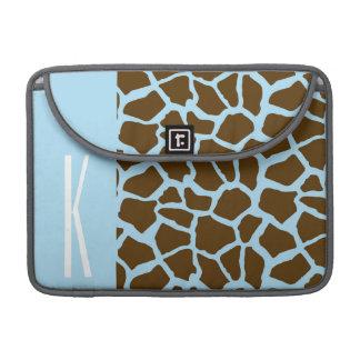 Baby Blue & Brown Giraffe Animal Print Sleeves For MacBook Pro