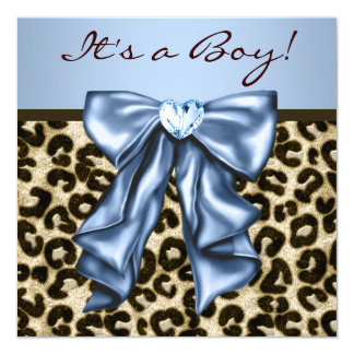 """Baby Blue Brown Leopard Baby Boy Shower 5.25"""" Square Invitation Card"""