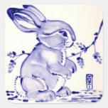 Baby Blue Bunny Rabbit Gift Wrap Square Sticker