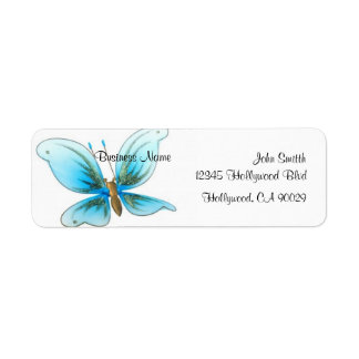 Baby Blue Butterfly Business Address Label