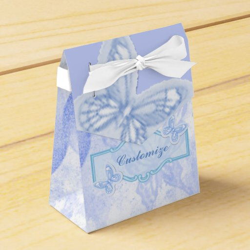 Favour Boxes Baby Blue : Baby blue butterfly favor box zazzle