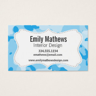 Baby Blue Camo; Camouflage Business Card