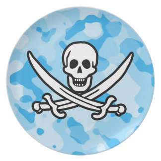 Baby Blue Camo; Camouflage Jolly Roger Plate
