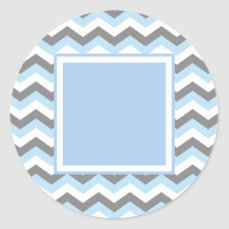 Baby Blue Chevron and Grey Classic Round Sticker