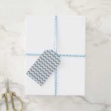 Baby Blue Chevron and Grey Gift Tags