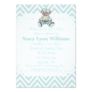 Baby Blue Chevron Baby Shower Card