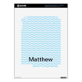 Baby Blue Chevron Pattern iPad 3 Decals