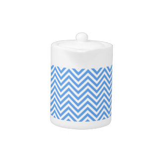 Baby Blue Chevron Pattern Teapot