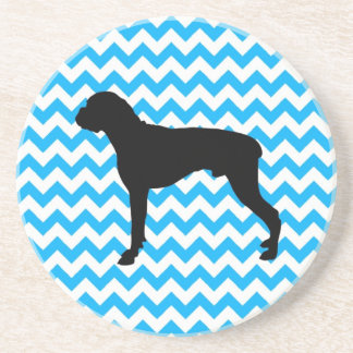 Baby Blue Chevron With Boxer Silhouette Drink Coaster