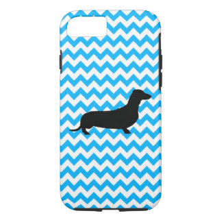 Baby Blue Chevron With Dachshund iPhone 7 Case