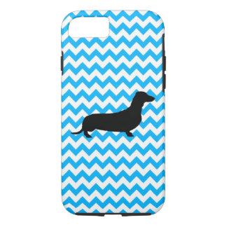 Baby Blue Chevron With Dachshund iPhone 8/7 Case