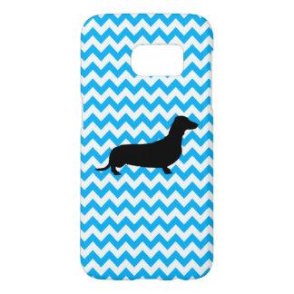Baby Blue Chevron With Dachshund Samsung Galaxy S7 Case