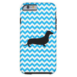 Baby Blue Chevron With Dachshund Tough iPhone 6 Case