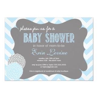 Baby Blue Chic Chevron Baby Shower Invitation