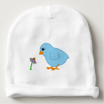 Baby Blue Chick with Purple Coneflower Baby Beanie