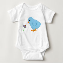 Baby Blue Chick with Purple Coneflower Baby Bodysuit