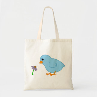 Baby Blue Chick with Purple Coneflower Budget Tote Bag