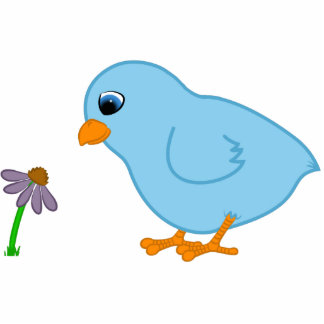 Baby Blue Chick with Purple Coneflower Cutout