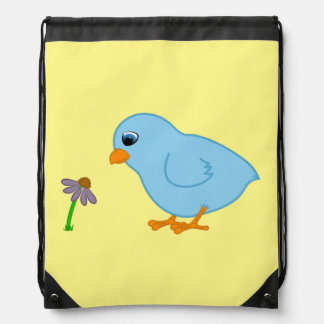 Baby Blue Chick with Purple Coneflower Drawstring Bag