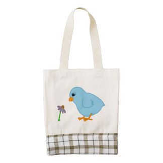 Baby Blue Chick with Purple Coneflower Zazzle HEART Tote Bag