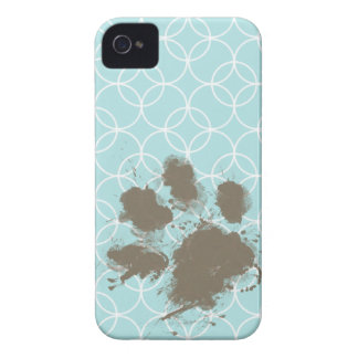 Baby Blue Circles; Funny Pawprint iPhone 4 Case-Mate Cases